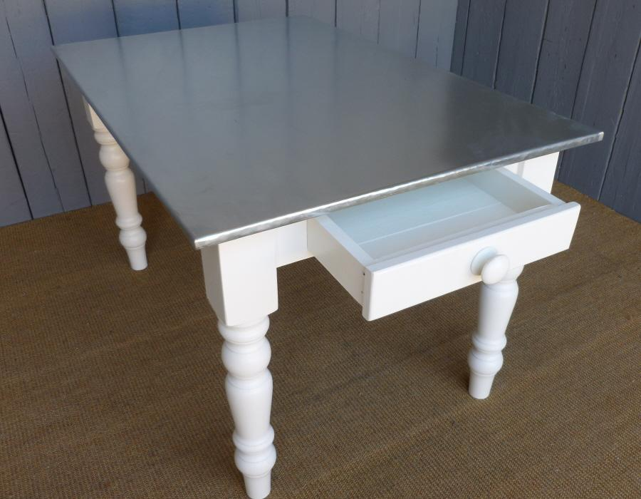 Zinc Topped Table with Drawer