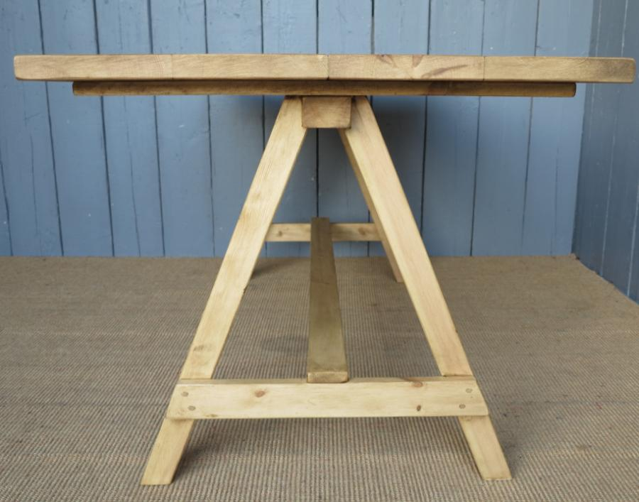 Pine Plank Top with Trestle Base