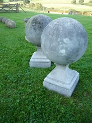 Image 3 - A pair of antique composition stone gate pier ball finials