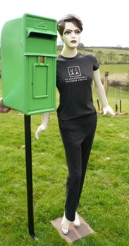 Showing an Irish Post Box with the optional pole that also fits this box