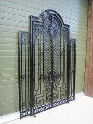Image 3 - Pair of Antique Cast and Wrought Iron Gates in a Frame