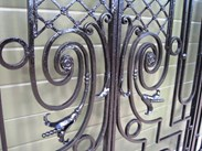 Image 5 - Pair of Antique Cast and Wrought Iron Gates in a Frame
