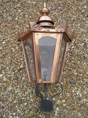 Image 3 - Large Copper Hexagonal Antique Garden Outdoor Lantern