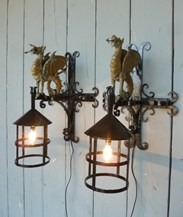 Image 3 - Wrought Iron Welsh Dragon Lights