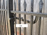 showing the wrought iron gate lock
