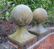 Side view of the stone ball finial cappings
