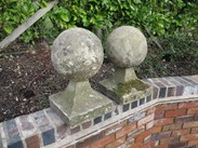 Pair of Ball Pier Cappings made from Reconstituted Stone<br>Cotswolds Colour Stone