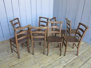 Image 3 - Set of 8 Antique Church Chairs