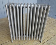 Showing the other side of the cast iron reclaimed radiator - 6 columns deep and 13 sections long