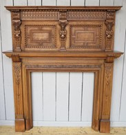 Hand Carved Victorian Oak Fire Surround