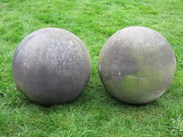 Image 3 - Pair of Antique Hand Carved Stone Balls