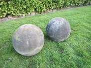Large Pair Of Antique Hand Carved Stone Balls