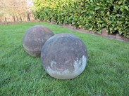 Image 3 - Large Pair Of Antique Hand Carved Stone Balls