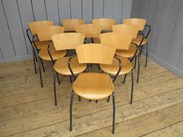 Showing the vintage tubular steel stacking chairs from above