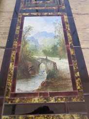 Hand Painted person on a bridge in the mountains victorian wall tile signed by w yale