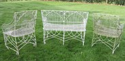 Backs of the set of 3 gothic wirework benches