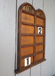 Side view of the victorian pitch pine double church hymn board