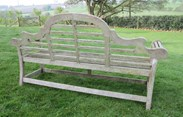Back view of the large teak lutyens garden bench