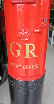 Hand Painted Gold Letters of the cast iron Original GR Pillar Box