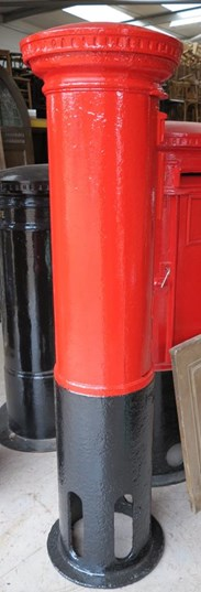 Showing the back of the Cast Iron Original GR Pillar Box