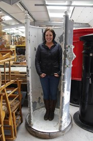 Showing Danielle within the antique zinc shower unit, note the shower head/rose would be fitted above her.