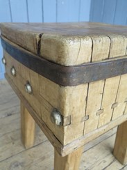 Close up of the antique butchers kitchen chopping block