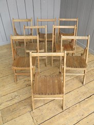 Top view of the antique folding slatted chairs