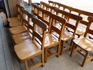 Showing the full batch of solid oak antique dining chairs