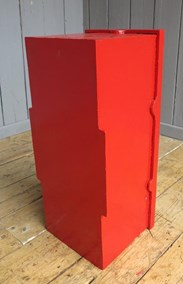 Showing the back of the original wall mounted cast iron GR post box