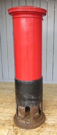 Showing the back of the Original Cast Iron George Pillar Box