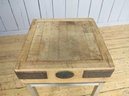 Antique Butchers Chopping Block On Stainless Steel Base