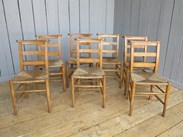 Rush Seated Antique Church Chairs With Book Holders