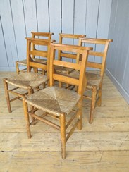 Image 4 - Rush Seated Antique Church Chairs With Book Holders