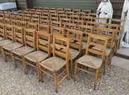 Image 6 - Rush Seated Antique Church Chairs With Book Holders