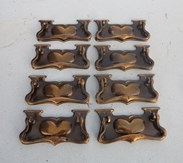 Set of 8 Antique Copper Art Nouveau Drawer Handles