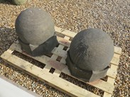 Image 2 - Pair of Hand Carved Arts & Crafts Gate Pier Finials