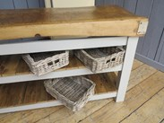 Antique Butchers Block With 2 Reclaimed Floorboard Shelves