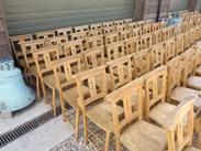 Showing the seats of the antique church chairs