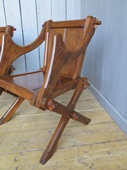 Pair of Antique Gothic Pitch Pine Glastonbury Chairs