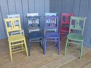 Set of 8 Antique Hand Painted Church Chairs