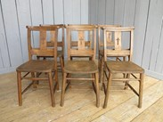 Set of 6 Antique Church Chairs