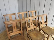 Image 2 - Set of 6 Antique Church Chairs