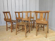 Image 3 - Set of 6 Antique Church Chairs