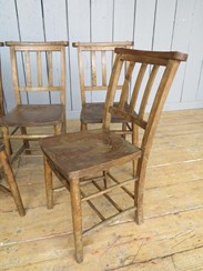 Image 2 - Set of 5 Antique Church Chairs
