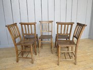 Image 3 - Set of 5 Antique Church Chairs