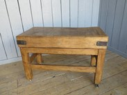 Antique Waxed Butchers Block on Original Base