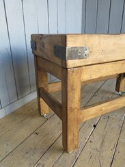 Image 2 - Antique Waxed Butchers Block on Original Base