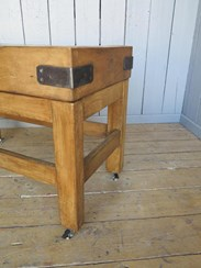 Image 3 - Antique Waxed Butchers Block on Original Base