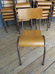 Tubular Steel Stacking Chairs - with rear book holders