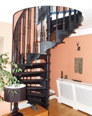 Cast Alloy Spiral Staircase with Balcony Railings